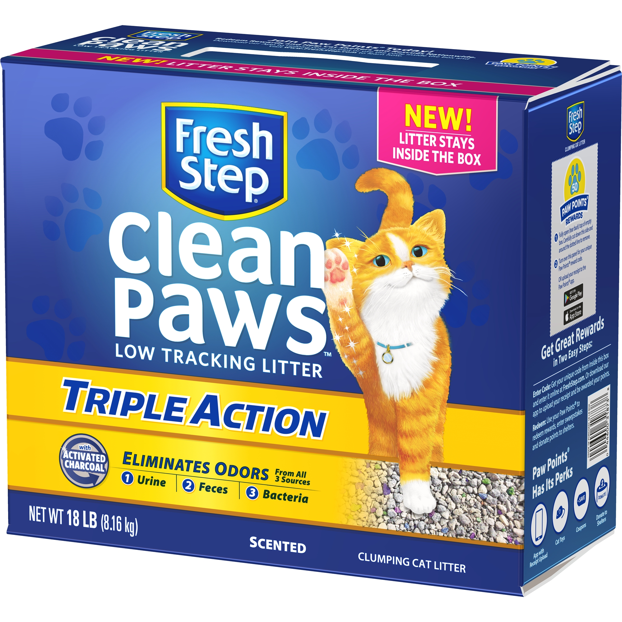 Fresh Step Clean Paws Triple Action Scented Litter, Clumping Cat Litter, 18-lb