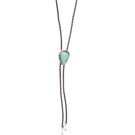 M F Western Products Mens  Large Turquoise Stone Bolo  Blue