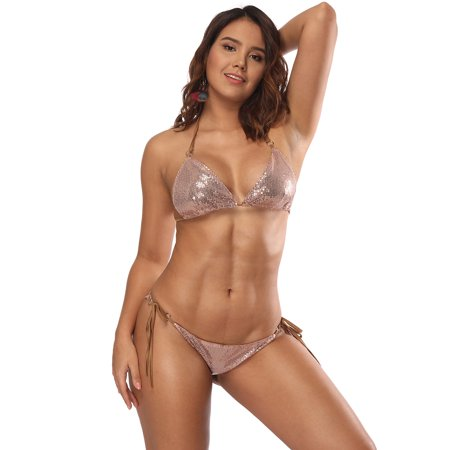 KABOER Women Triangle Bikini Set 2 Pieces Shiny Sequin Sexy String Beachwear Cross High Neck Halter -