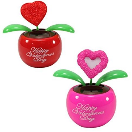 - Lovers' Gift Set of 2 ~ 1 Red Heart in Red Pot + 1 Pink Heart in Pink Pot Solar Toy Valentine's Day Flowers Holiday Gift Home Decor Car Dashboard Office Desk Display US Seller