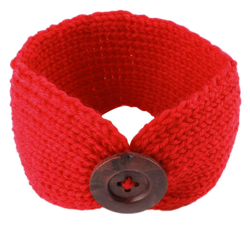 Wool Crochet Head Wrap, Coxeer Cute Twisted Headband Button Head Wrap Band for Toddler Infant Baby Girls & Boys