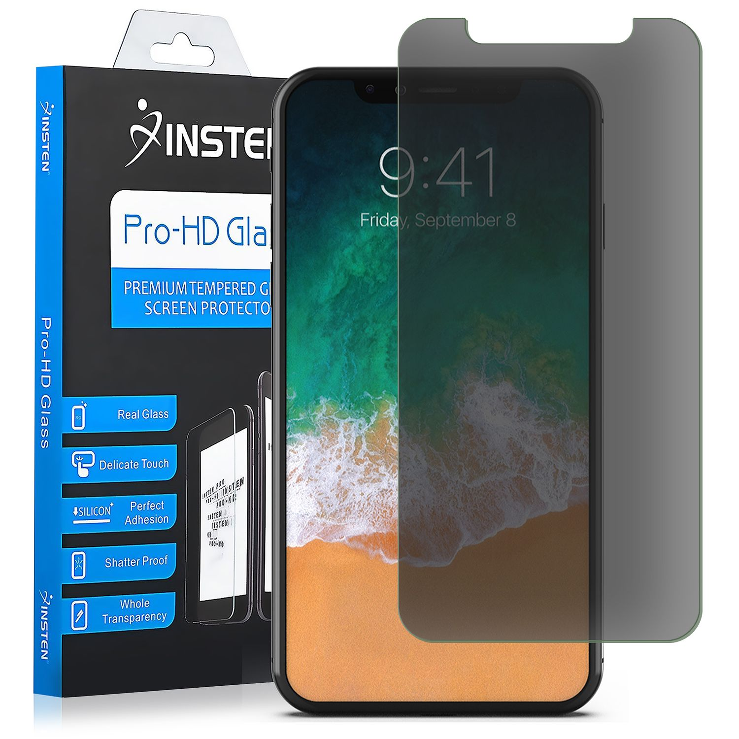 iPhone X Case with Anti Spy Privacy Tempered Glass Screen Protector, by Insten Symbiosis Dual Layer Hybrid Stand Rubber Silicone/PC Case Cover for Apple iPhone X - Black - image 1 of 3