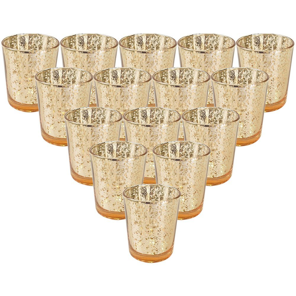 """Just Artifacts  Mercury Glass Votive Candle Holder 2.75""""H (15pcs, Speckled Gold) -Mercury Glass Votive Tealight Candle Holders for Weddings, Parties and Home Decor"""