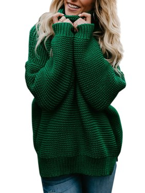 Product Image Women Winter Warm Knitted Sweater Polo Neck Tops Chunky Knitting  Pullover Loose Jumper Baggy Knit Turtle 123045266