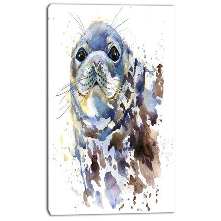 Blue Marine Seal Watercolor - Contemporary Animal Art Canvas - image 1 de 3