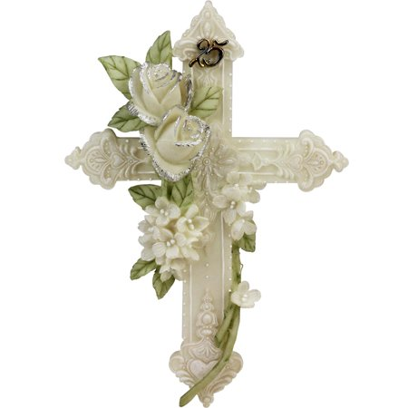 25th Silver Wedding Anniversary Floral Wall Cross Gift