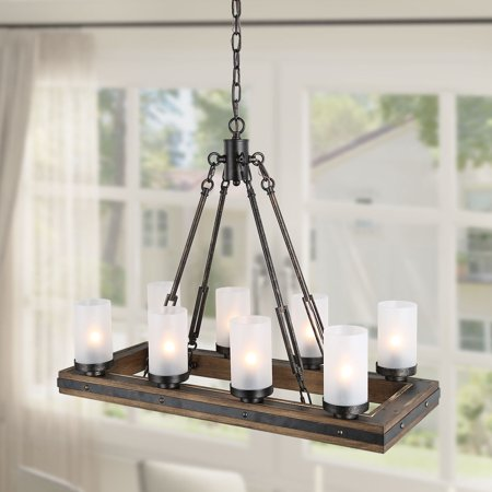 LNC 8 Lights Rustic Chandeliers Lighting for Living Room/Dining Room, Use Wood and Metal Kitchen Island Pendant Lights for Dining Room ()