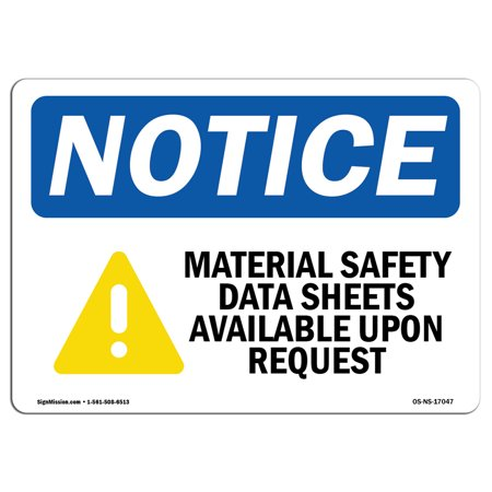 OSHA Notice Sign - MSDS Right to Know | Choose from: Aluminum, Rigid Plastic or Vinyl Label Decal | Protect Your Business, Construction Site, Warehouse & Shop Area |  Made in the