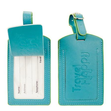 PU Leather Luggage Tags, Travel ID Bag Tags - Set of 2 (Blue)