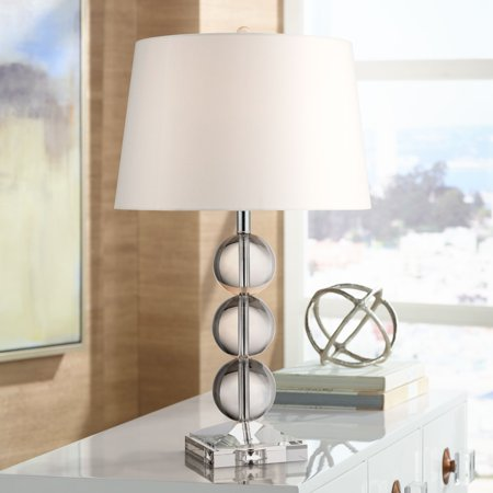 360 Lighting Modern Table Lamp Clear Crystal Silver Metal White Drum Shade for Living Room Family Bedroom Bedside (Clear Metal)