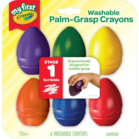 Crayola My First Washable Palm-Grasp Crayons For Toddlers, 6 Count