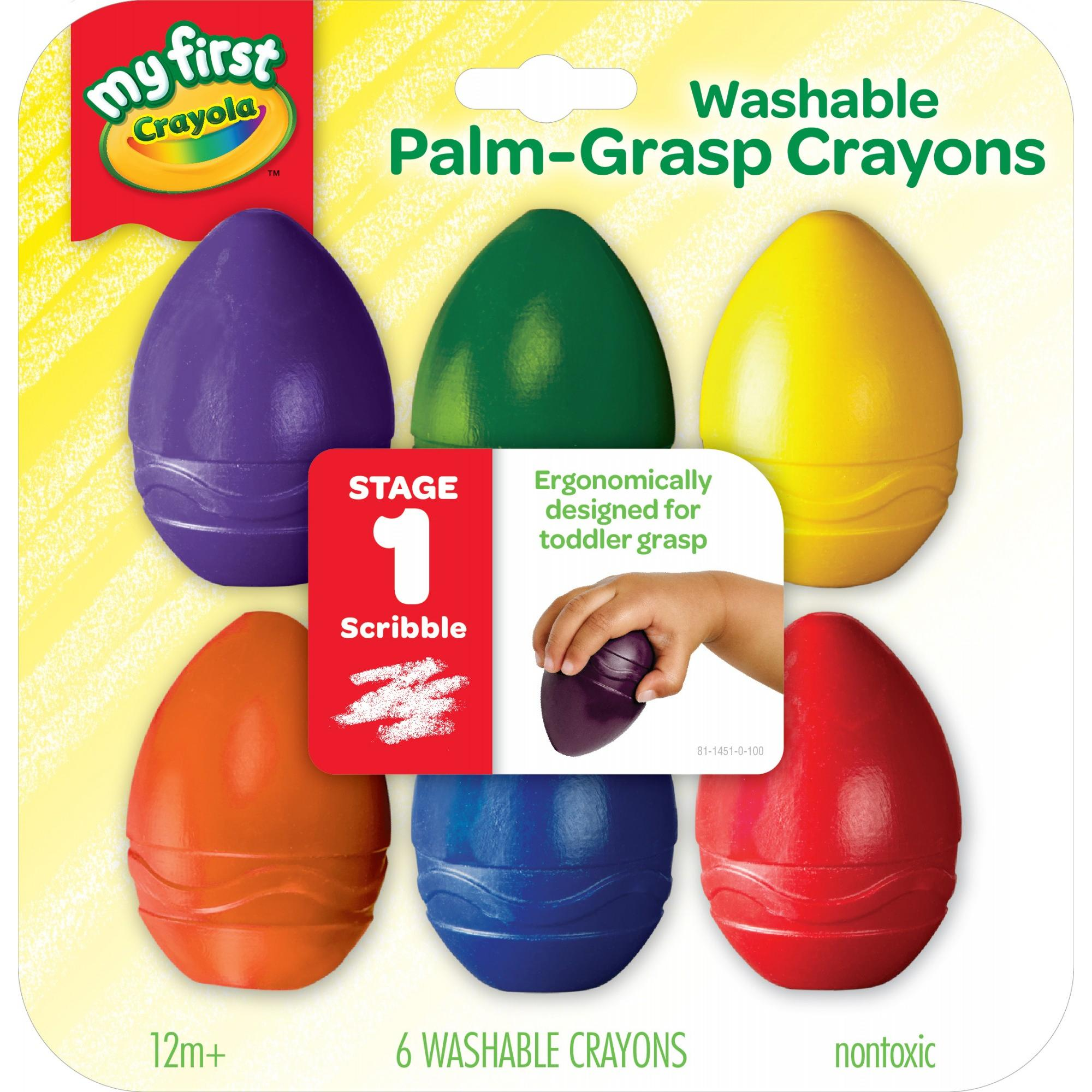 Crayola My First Washable Palm-Grasp Crayons For Toddlers, Toddler Art Supplies, 6 Count