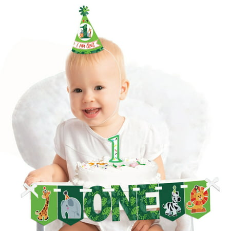 Jungle Party Animals 1st Birthday - First Girl or Boy Smash Cake Decorating Kit - Safari Zoo Animal High Chair Decor - First Birthday Party Ideas Girl
