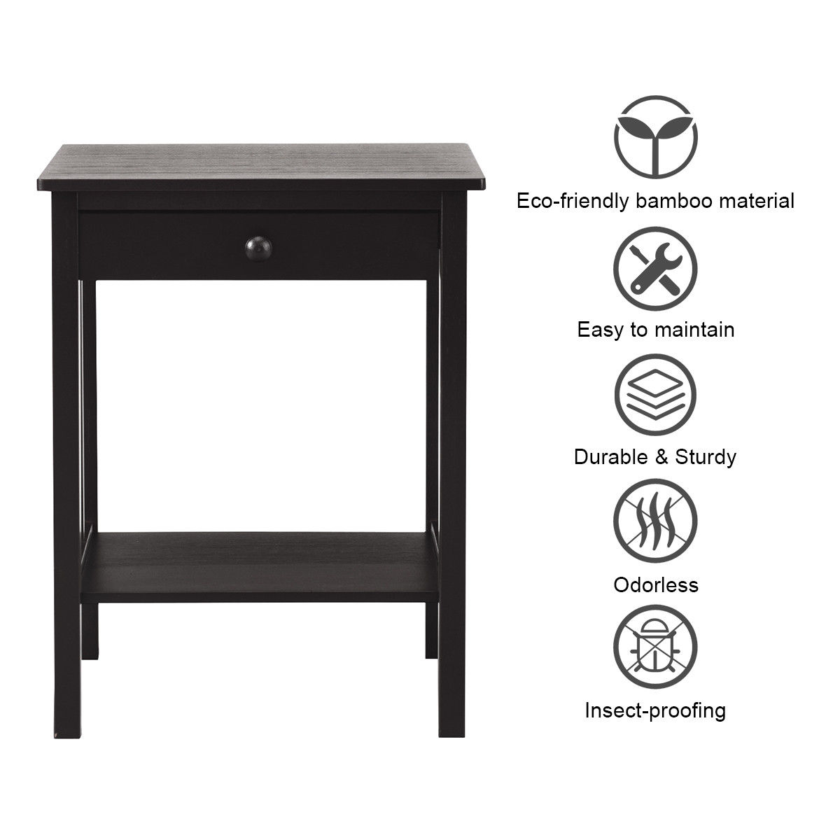 Bamboo Nightstand End Table Drawer Storage Shelf Side Table Multipurpose Black - image 8 of 10
