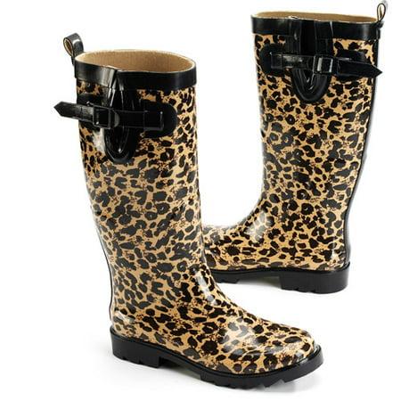 Women's Leopard Rain Boots - Walmart.com