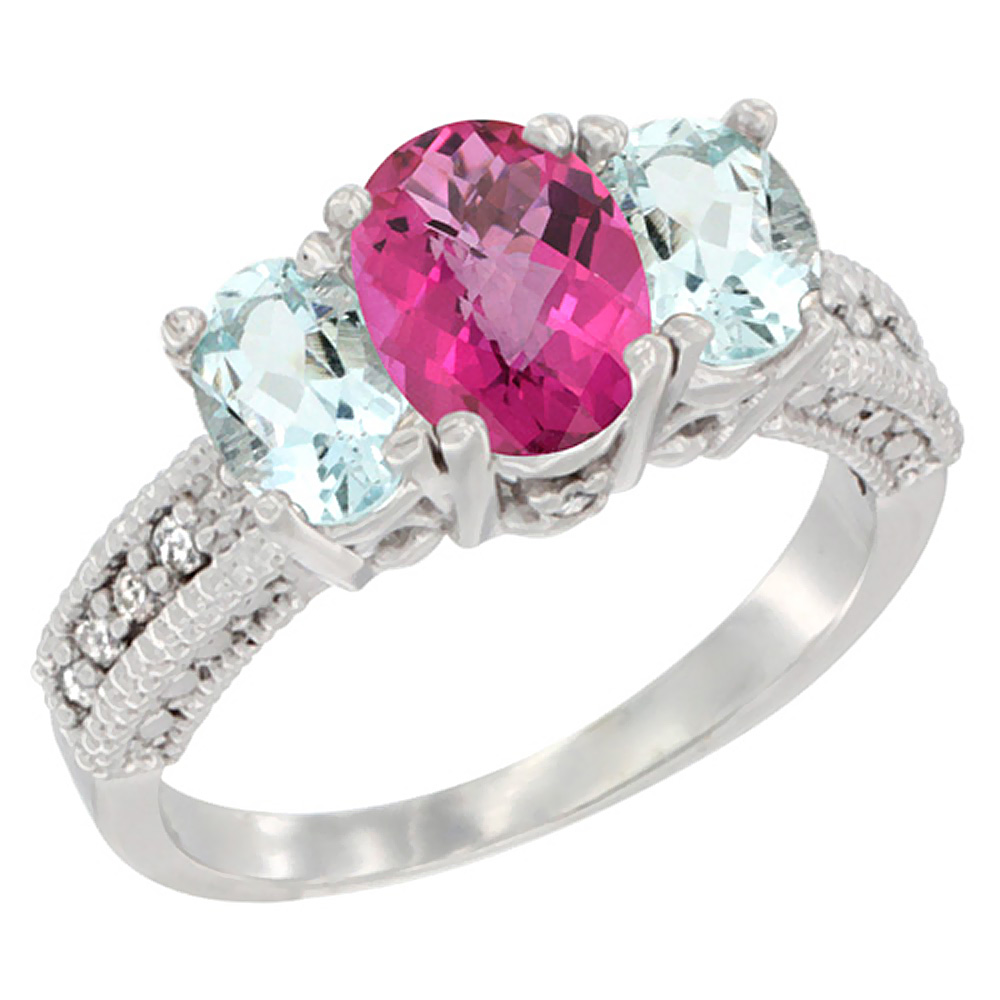 14K White Gold Diamond Natural Pink Topaz Ring Oval 3-stone with Aquamarine, sizes 5 10 by WorldJewels