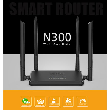 Wavlink N300 Smart WI-FI Wireles Router With 4 High Gain External Antennas & WPS Button Broadband