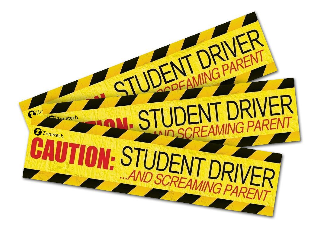 Bumper Stickers for A New Driver 12 x 3 Caution: Student Driver//Screaming Parent Magnet Car Sign