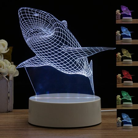 Shark Owl Animal 3D LED Night Light Desk Lamp Table Remote Control Touch Switch USB Lamp For Christmas Birthday Gift Valentine's Day Home Decor