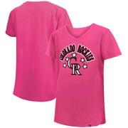 Colorado Rockies New Era Girls Youth Jersey Stars V-Neck T-Shirt - Pink