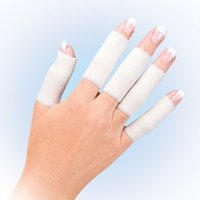 10 Piece Elastic Compression Finger Sleeves for Pain Relief due to Arthritis and Joint Pain- White