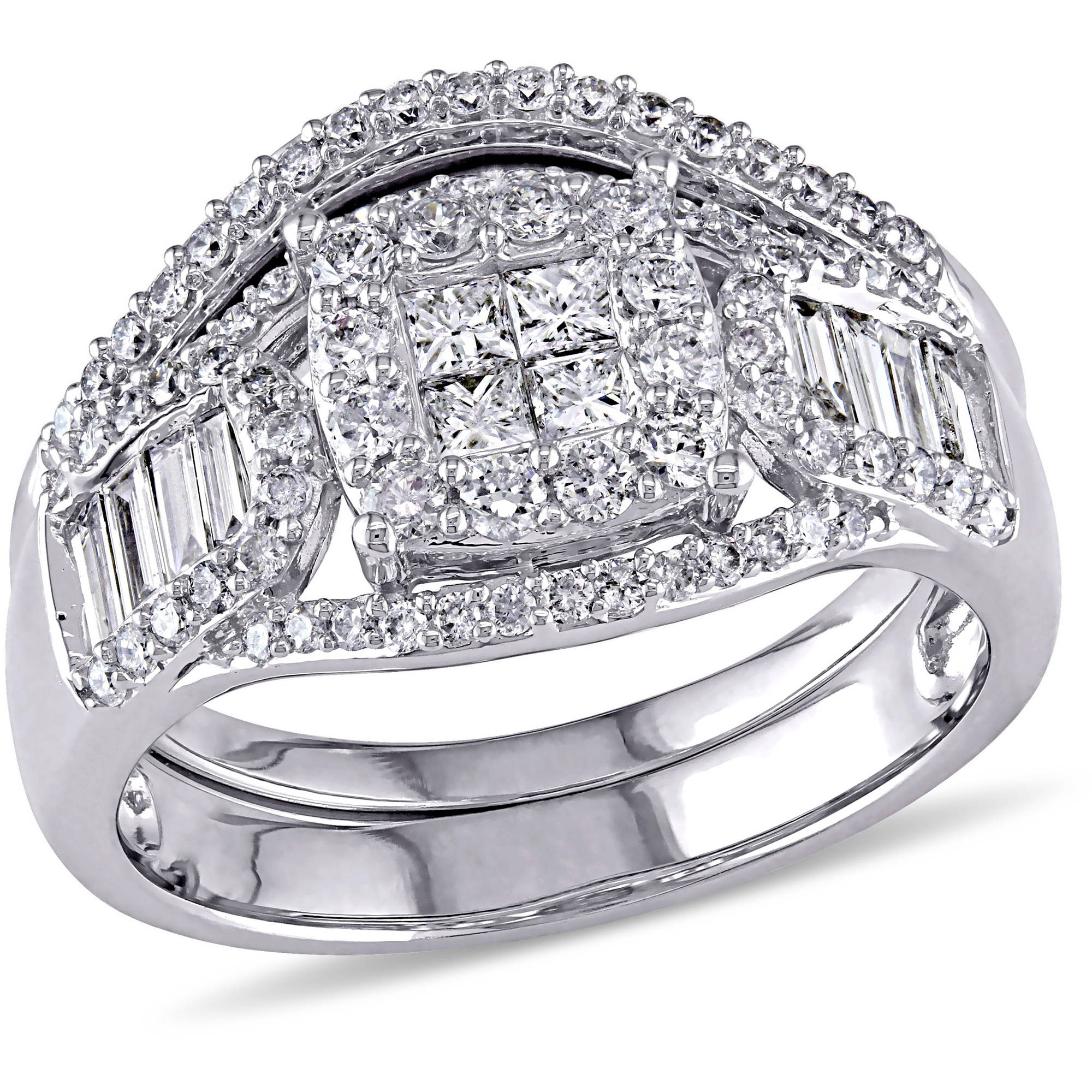 Miabella 1-1 5 Carat T.W. Princess with Parallel Baguette and Round-Cut Diamond 14kt White Gold Bridal Set by Miabella