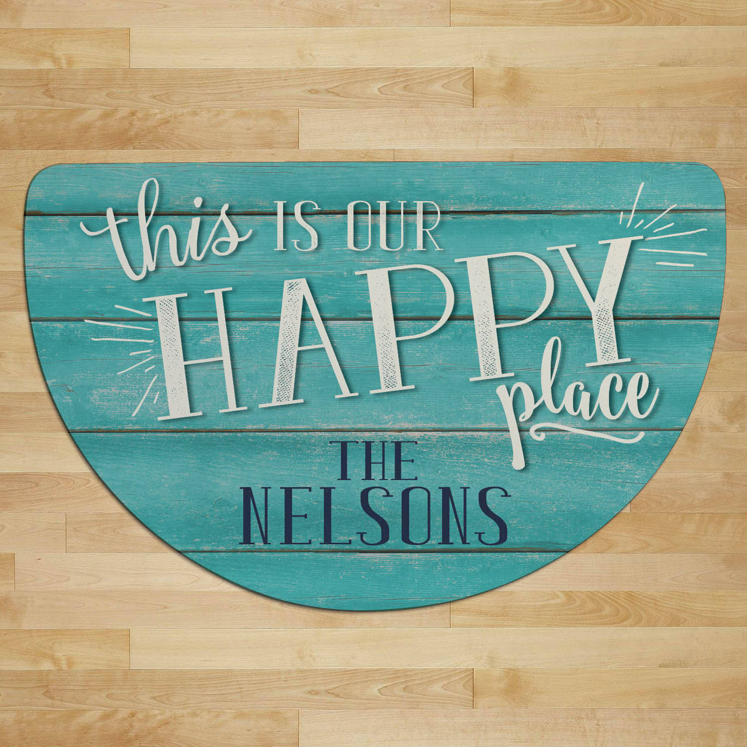 Personalized Half Round Doormat - This Is Our Happy Place