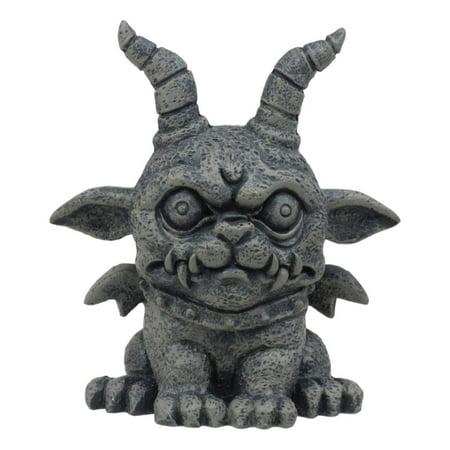 Ebros Gothic Horned Bulldog Gargoyle Agamon Figurine Small Mythical Fantasy Decor Statue 3.75