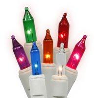 "Vickerman 100 Light Multi-color Random Twinkle Mini Light Set /End Connecting White Wire 4"" Bulb Spacing, 3"