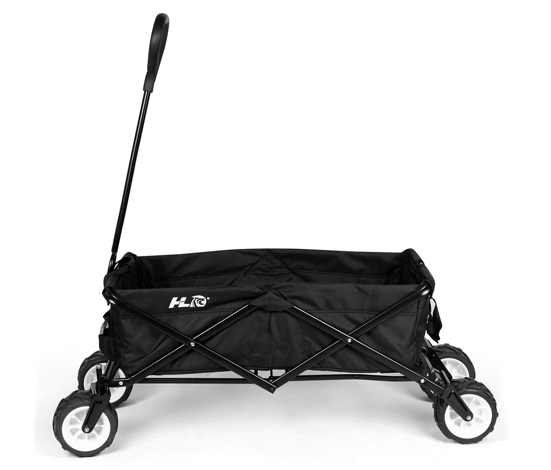 Collapsible Folding Utility Wagon with 120 lb Capacity Black with Free Diving Mask and Dry Snorkel Set,Black by HLC