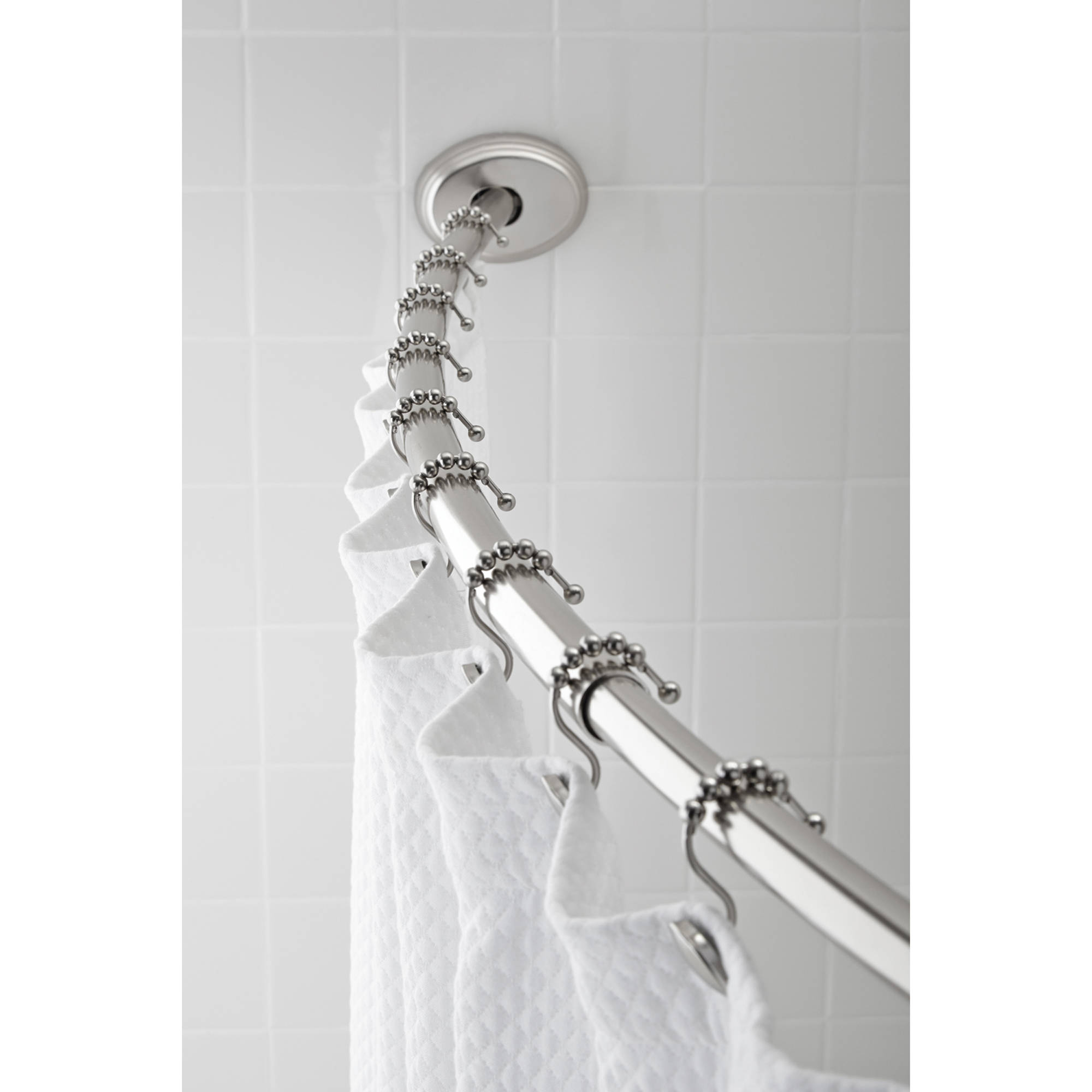 Hotel Style Aluminum Curved Shower Rod, Brushed Nickel - Walmart.com