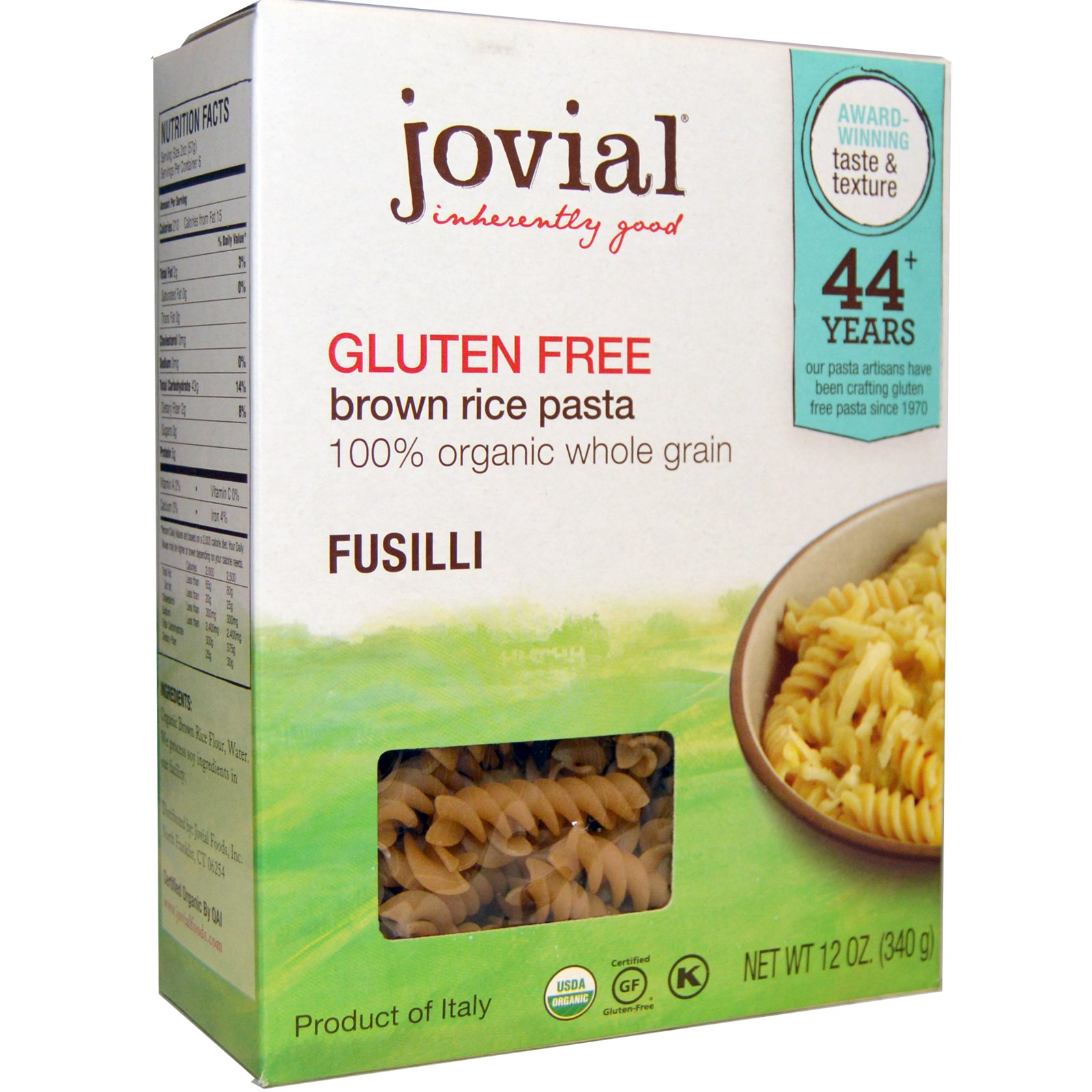 Jovial, Brown Rice Pasta, Fusilli, Gluten Free, 12 oz (pack of 4)