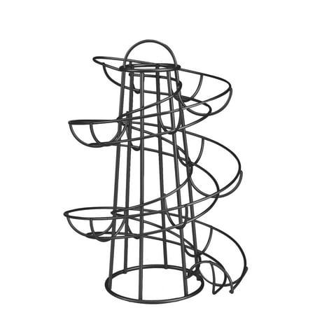 Deluxe 2 Piece Wall Rack - Egg Skelter Deluxe Modern Spiraling Dispenser Rack - Chrome Plated Freestanding Wire Chicken Egg Storage Organizer Display Holder Basket for Countertop Kitchen (Black)