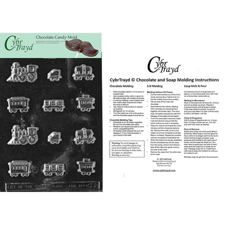 Sugar Train Chocolate Candy Mold with Exclusive Cybrtrayd Copyrighted Molding Instructions (Sugar Skull Molds)