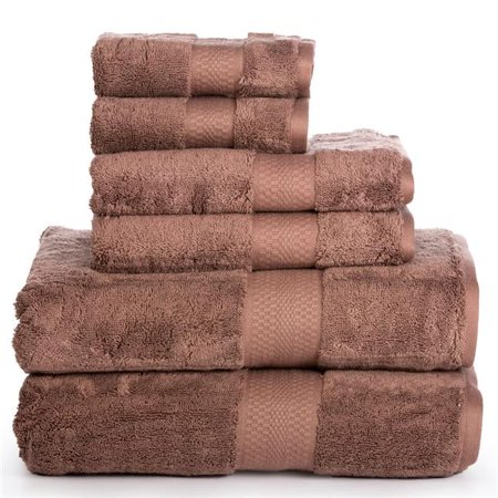 Affinity Linens AERO6PCTWL-BWN AeroSoft Premium Combed Cotton 710 GSM Bath Towel Set, Brown - One Size, 6 Piece