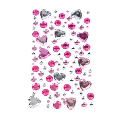 Embroidered 3 D Stickers - Heart Bubble Gems 3D Rhinestone Stickers, 110-Piece