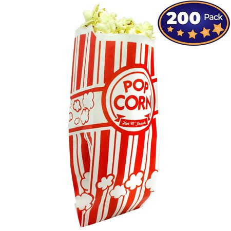 Popcorn Bags Coated for Leak/Tear Resistance. Single Serving 1oz Paper Sleeves in Nostalgic Red/White Design. Great Movie Theme Party Supplies or for Old Fashioned Carnivals & Fundraisers! (200) - Personalized Party Bags