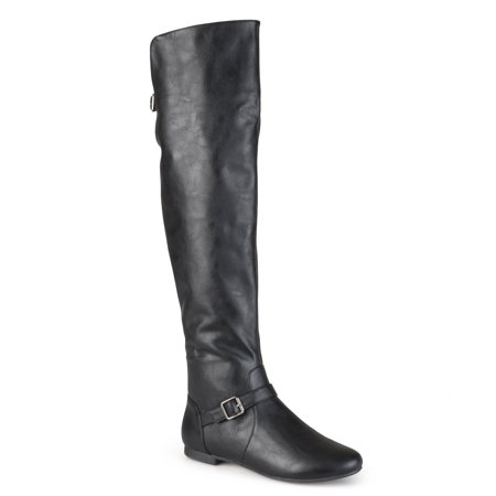 Womens Buckle Tall Round Toe Riding Boots Big And Tall Boots