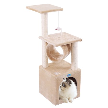 """UBesGoo Beige 36"""" Cat Trees Condo large cat on Clearance Furniture Scratching Post Kitten Pet Play Toy House"""