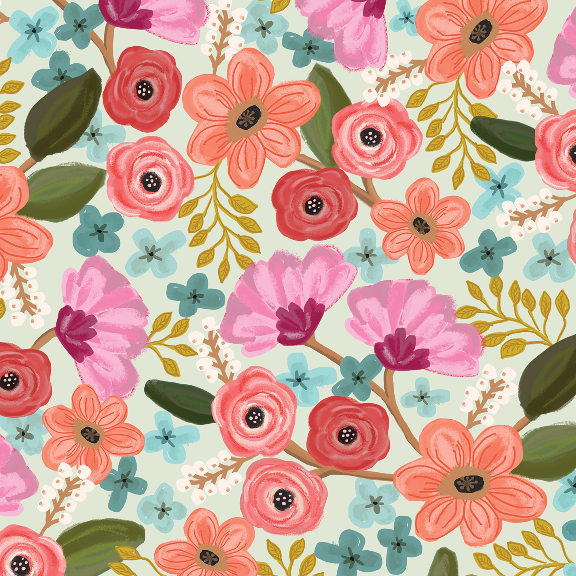 "Jillson & Roberts Bulk Gift Wrap, Gypsy Floral, 1/4 Ream 208' x 30"""