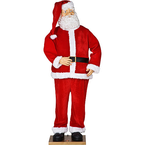 Life-Size Animated Santa With Realistic Face Christmas Decor, Over 5.5' Tall