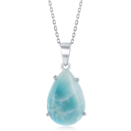 Sterling Silver Four Prong Natural Larimar Teardrop Stone 16+2'' Necklace