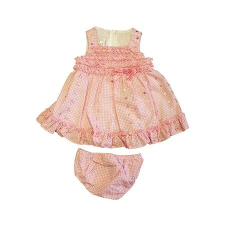 Ashley Ann Infant Girls Lined Pink Gingham Ruffled Dress Sun Dress 3-6 Months ()