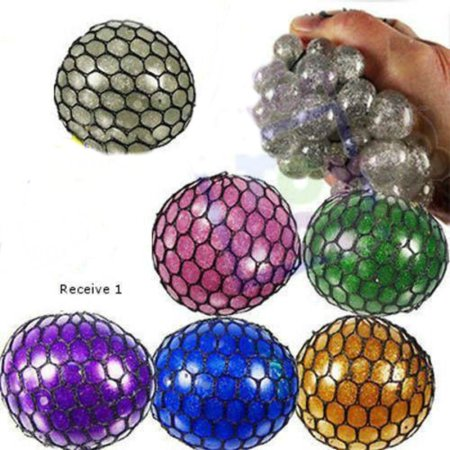 "2"" Glitter mesh sensory stress ball toy autism squeeze anxiety squishy fidget"