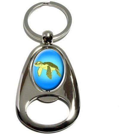 Sea Turtle, Ocean Cute, Chrome Plated Metal Spinning Oval Design Bottle Opener Keychain Key Ring