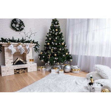 MOHome Polyster 7x5ft White Christmas Photography Backdrops Green Christmas Tree and Fireplace Socks Photo Backgrounds Champagne on White Carpet On Fire Photo
