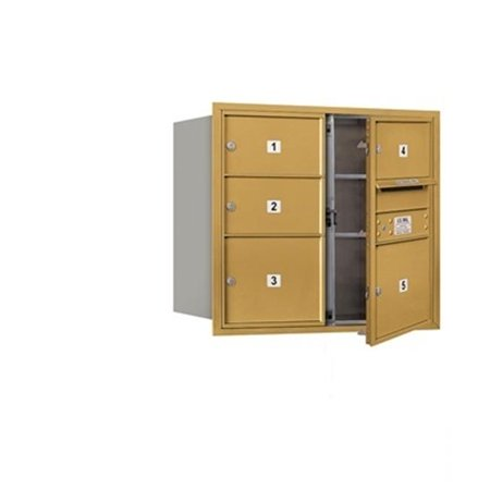 Salsbury  4C Horizontal Mailbox Includes Master Commercial Lock - 7 Door High Unit - 27 Inches - Double Column - 3 Mb2 Doors And 2 Mb3 Doors - Gold -
