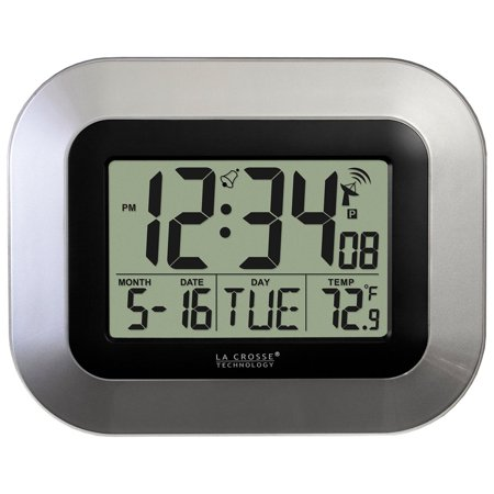 WT-8005U-S Atomic Digital Wall Clock with Indoor Temperature, Silver, Atomic all clock with self-setting time and date, indoor temp, alarm. Please note: Product has ONLY.., By La Crosse