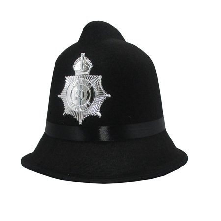 British English Bobby Policemen Officer Adult Hat Halloween Accessory Black Felt](English Bobby)