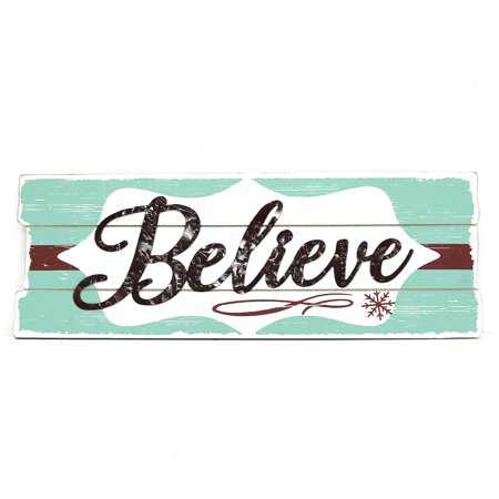 Believe Sign: Metallic, White/Blue/Red, 18.38 x 6.5 inches